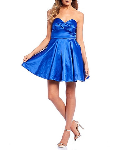 City Vibe Strapless Sweetheart Satin Dress