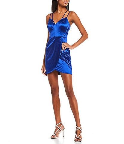 City Vibe Strappy Satin Sheath Dress