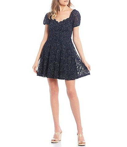 City Vibe Sweetheart Neckline Dotted Lace Skater Dress