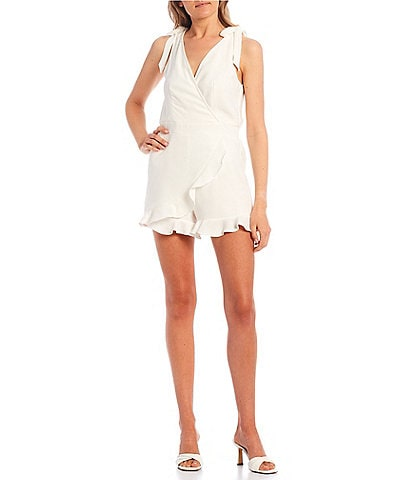 City Vibe Tie-Shoulders Ruffle Hem Romper