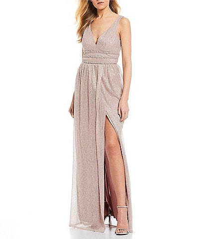 City Vibe Triple Beaded Waist Metallic Long Dress