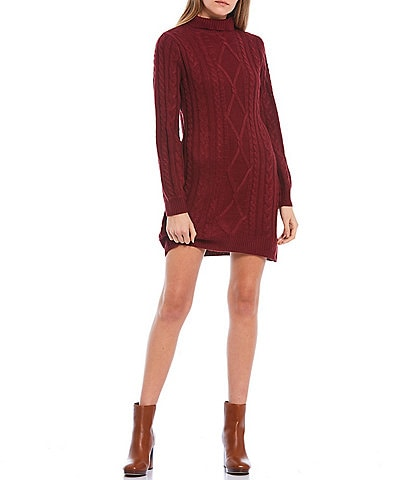 City Vibe Turtle-Neck Cable Knit Sweater Dress
