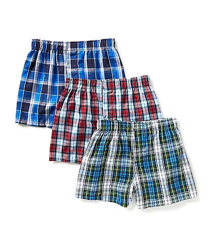 Class Club Big Boys 8-20 3-Pack Plaid Woven Boxer Shorts