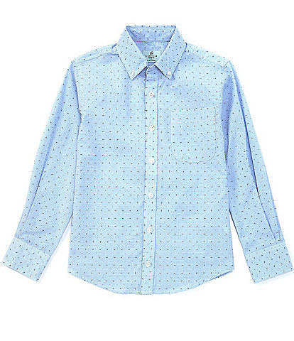Class Club Big Boys 8-20 Long-Sleeve Clip-Dot Button-Front Shirt