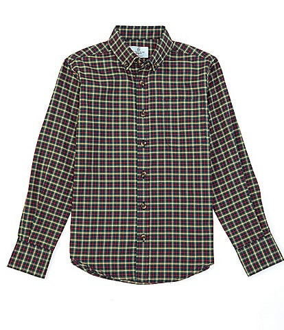 Class Club Big Boys 8-20 Long-Sleeve Holiday Check Button-Front Shirt