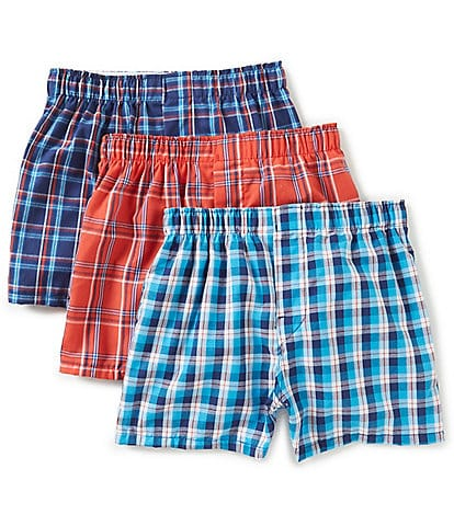 Class Club Big Boys 8-20 3-Pack Plaid Woven Boxers