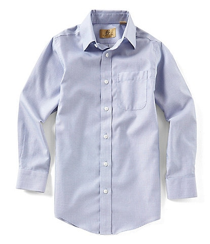 Class Club Gold Label Big Boys 8-20 Button-Down Non-Iron Grid Pattern Woven Long-Sleeve Shirt