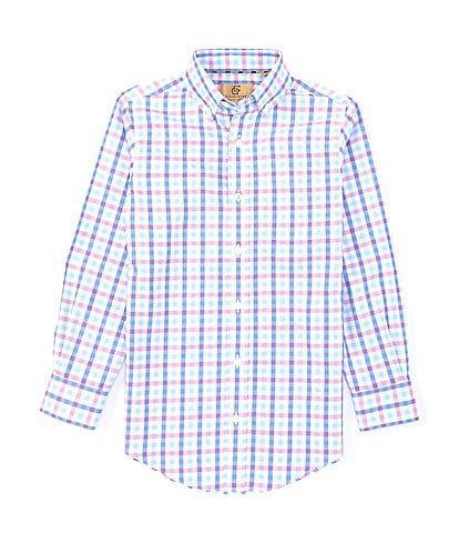 Class Club Gold Label Big Boys 8-20 Long Sleeve Non-Iron Plaid Button Front Shirt