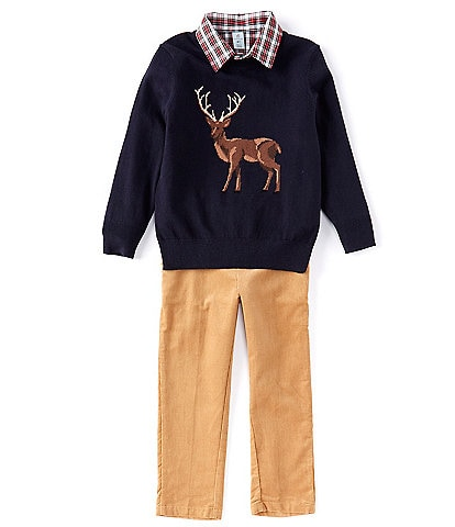 Class Club Little Boys 2T-7 Deer Intarsia Sweater, Long-Sleeve Plaid Shirt & Corduroy Pants Set