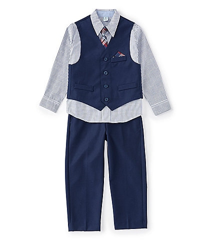 Class Club Little Boys 2T-7 Grid Sport Shirt, Vest, Pant, & Plaid Tie Set