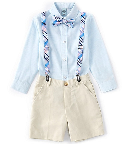 Class Club Little Boys 2T-7 Long Sleeve Button-Front Shirt, Short, Plaid Tie & Suspender Set