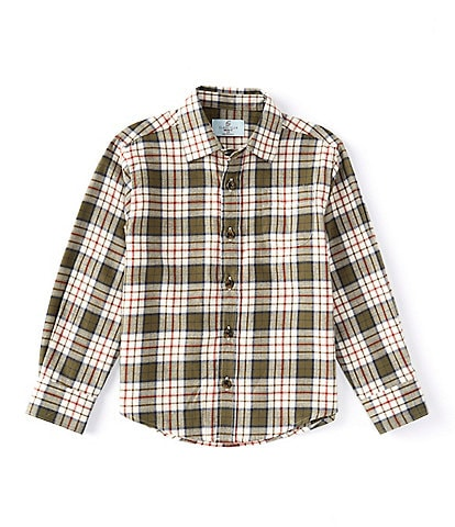 Class Club Little Boys 2T-7 Long-Sleeve Two-Tone Plaid Button-Front Shirt