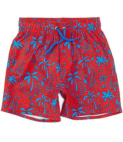 Class Club Little Boys 2T-7 Palm Print Swim Trunks
