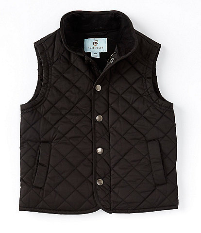 Class Club Little Boys 2T-7 Stand-Collar Quilted Zipper Snap Front Vest