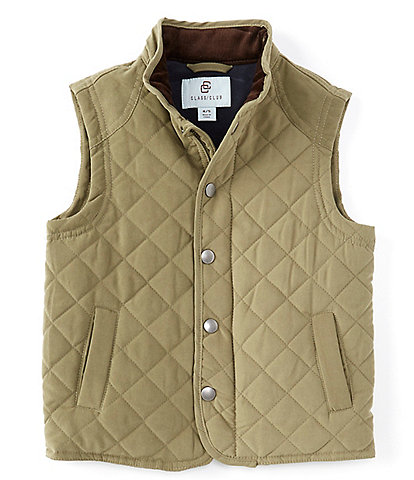 Class Club Little Boys 2T-7 Stand Collar Snap Button Quilted Vest
