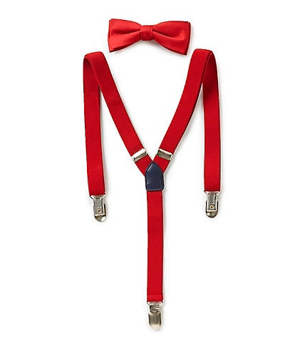 Class Club Boys Solid Bow Tie & Suspender Set