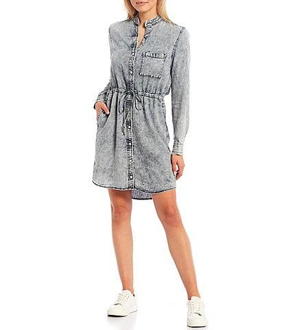 Cloth & Stone Banded Collar Long Sleeve Button Front Acid Wash Frayed Drawstring Shirt Dress