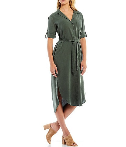 Cloth & Stone Curved Hem Point Collar Neck Button Front Short Sleeve Belted Midi Shirt Dress
