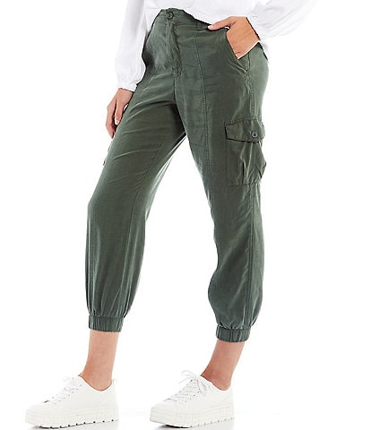 Cloth & Stone Front Button Elastic Back Cropped Cargo Pants