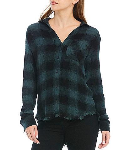 Cloth & Stone Roll-Tab Long Sleeve Collared Plaid Fray Hem Button Down Shirt