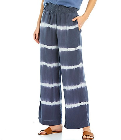 Cloth & Stone Smocked Striped Wide Leg Pants