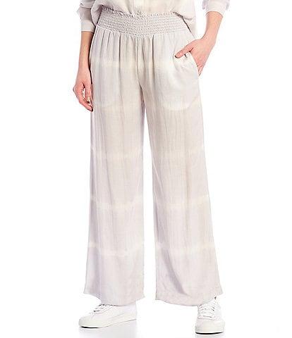 Cloth & Stone Smocked Striped Wide Leg Pants