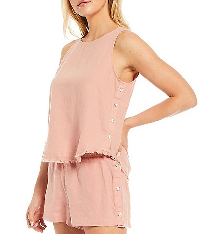Cloth & Stone Woven Button Front Side Fray Top