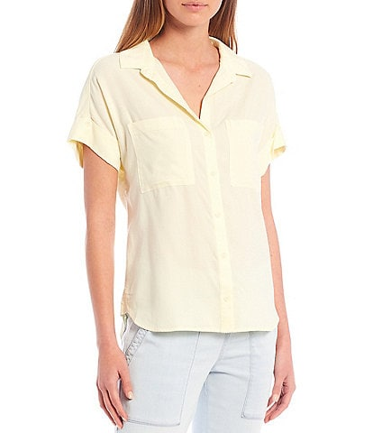 Cloth & Stone Woven Rolled Short Sleeve Button Down Top