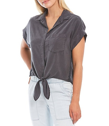 Cloth & Stone Woven Trimmed Short Sleeve Coordinating Tie Front Top