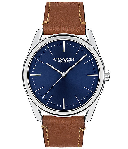 COACH Preston Blue Dial Saddle Leather Watch
