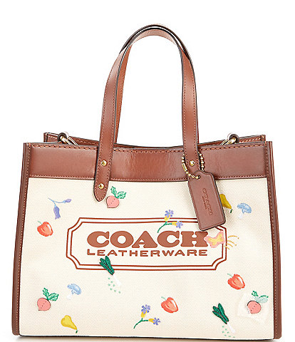 COACH All Over Garden Embroidered Canvas Coach Badge Field Tote Bag