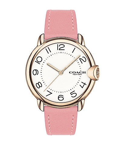 COACH Arden Pink Leather Strap Watch