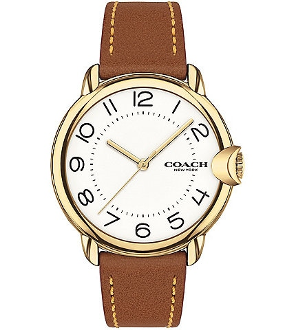COACH Arden Saddle Leather Strap Watch