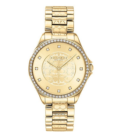 COACH Astor Gold Tone Swarovski Crystal Set Bezel Bracelet Watch