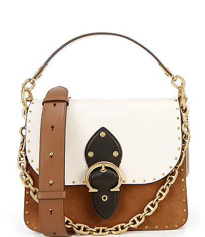 COACH Beat Colorblock Leather and Suede Studded Shoulder Bag