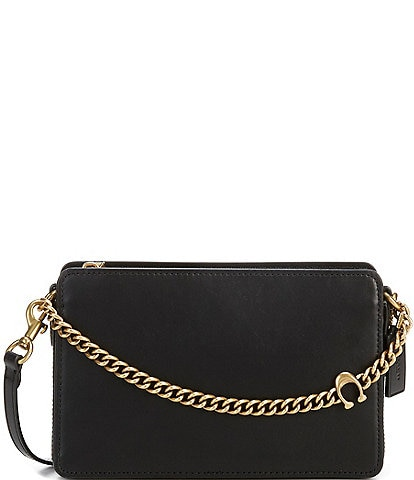 COACH Chain with Logo Leather Zip Top Brass/Black Crossbody Bag