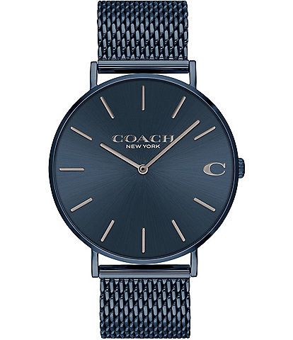 COACH Charles Blue IP Mesh Bracelet Watch
