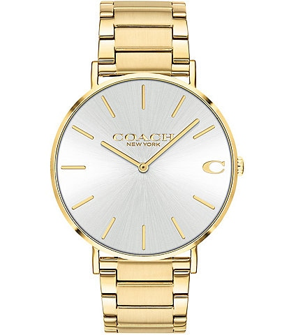 COACH Charles Gold Tone Bracelet Watch