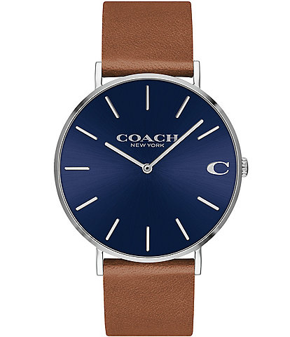COACH Charles Leather Strap Blue Dial Watch