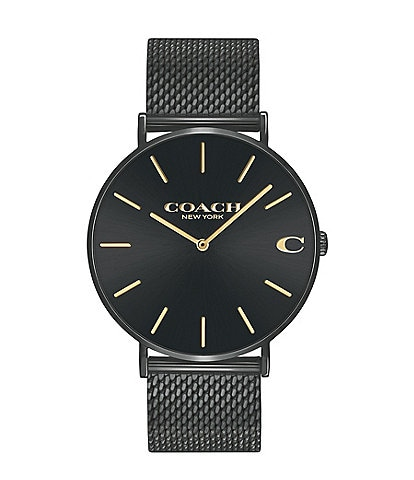 COACH Charles Men's Black IP Mesh Bracelet Watch
