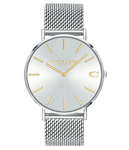 COACH Charles Men's Stainless Steel Silvertone Mesh Bracelet Watch