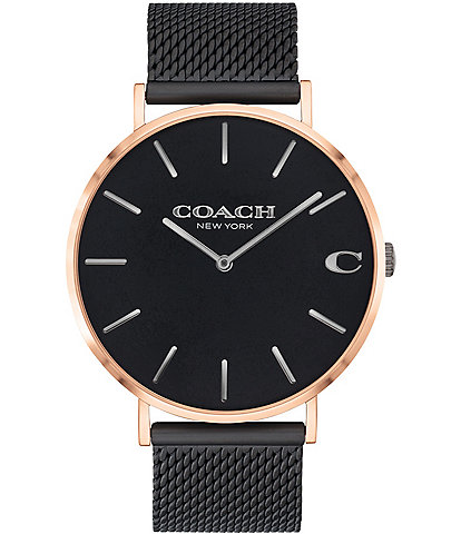 COACH Charles Quartz Analog Black Mesh Bracelet Watch