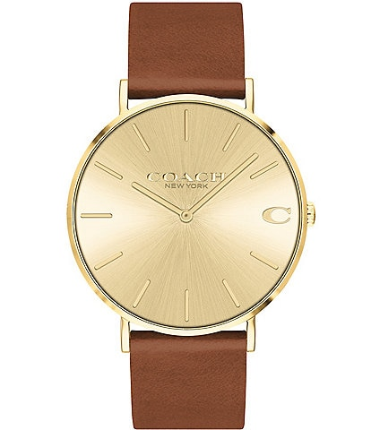 COACH Charles Saddle Leather Quartz Analog Watch