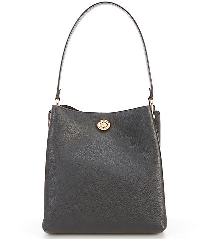 COACH Charlie Polished Pebble Leather Turnlock Bucket Bag