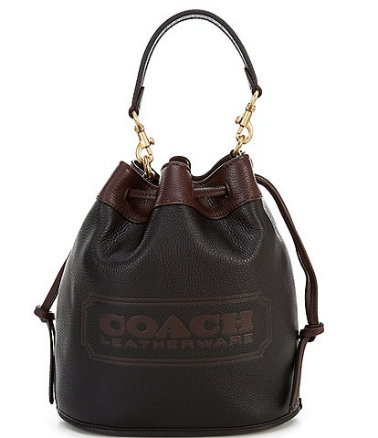 COACH Colorblock Leather Badge Field Bucket Bag
