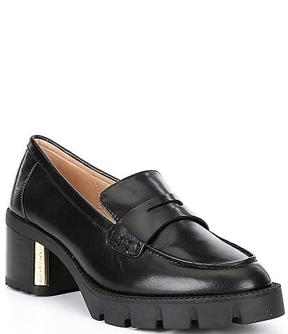 COACH Cora Leather Block Heel Loafers