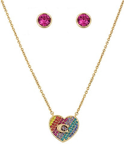 COACH Crystal Heart and Stud Earring Gift Set