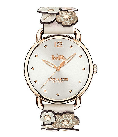 COACH Delancey Tea Rose Leather Strap Analog Watch