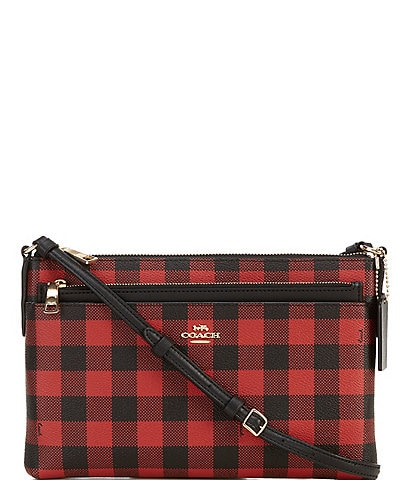 COACH East West Gingham Print Crossbody Bag With Pop-Up Pouch