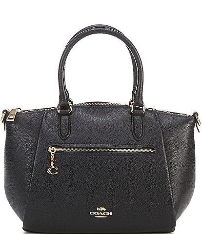COACH Elise Polished Pebbled Leather Zip Top Medium Satchel Bag